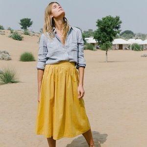 Madewell Side Button Midi Skirt, sz 6